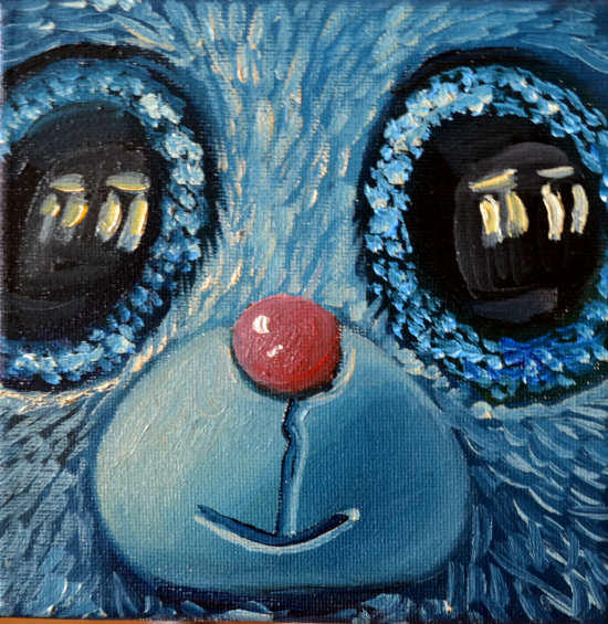 Klára Sedlo : Blue Friend, oil on canvas, 15 × 15 cm, 2019, private collection