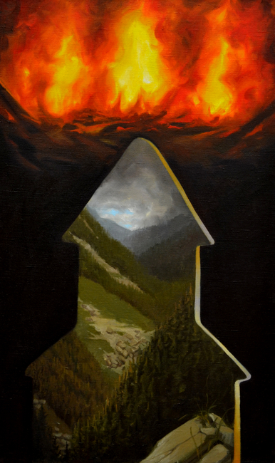 Klára Sedlo : Mountain Fire, oil on canvas, 75 × 40 cm, 2017, private collection