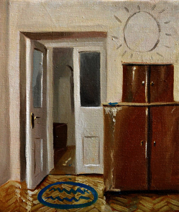 Klára Sedlo : Doors to the Lake are Open, oil on canvas, 40 × 30 cm, 2018, private collection