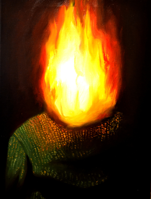 Klára Sedlo : Burning Head, oil on canvas, 40 × 30 cm, 2019, private collection