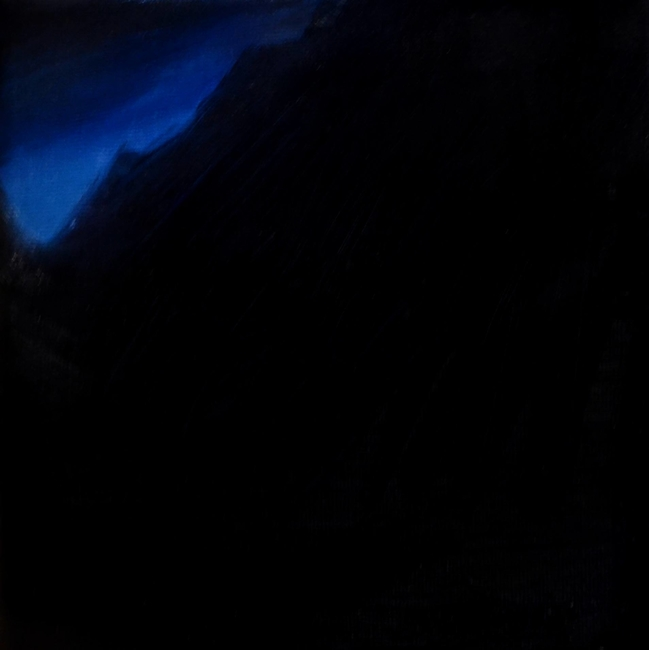 Klára Sedlo : Mountains in Night II, oil on canvas, 15 × 15 cm, 2019, private collection
