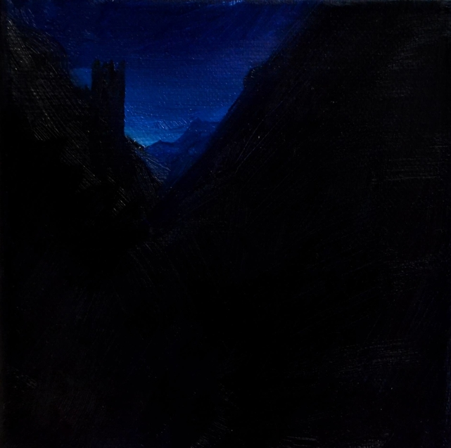 Klára Sedlo : Mountains in Night III, oil on canvas, 15 × 15 cm, 2019, private collection