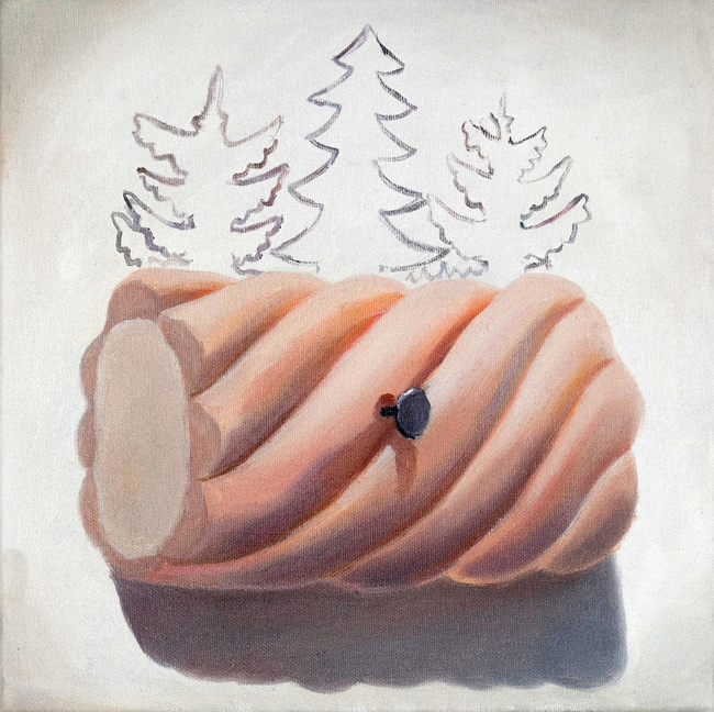 Klára Sedlo : Marshmallow on the Wall II, oil on canvas, 30 × 30 cm, 2018, private collection