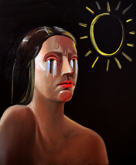 Klára Sedlo : Crying from the Sun, oil on canvas, 60 × 50 cm, 2018