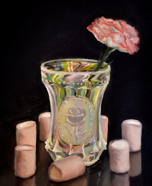 Klára Sedlo : Plastic Flower Does Not Need Water II, oil on canvas, 30 x 25 cm, 2017, private collection