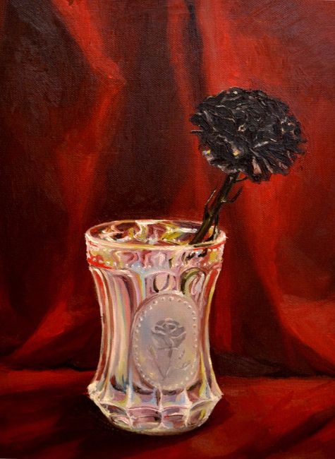 Klára Sedlo : Plastic Flower Does Not Need Water I, oil on canvas, 40 × 30 cm, 2017, private collection