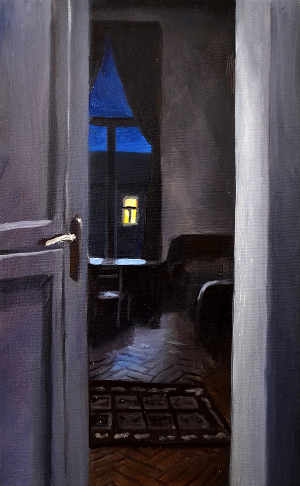 Klára Sedlo : Room, oil on canvas, 25 × 40 cm, 2018, private collection