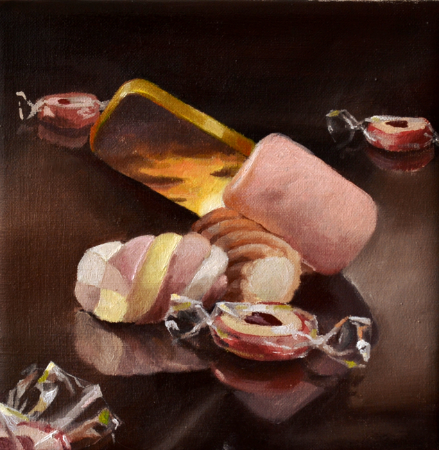 Klára Sedlo : Sweets, oil on canvas, 20 x 20 cm, 2017, private collection