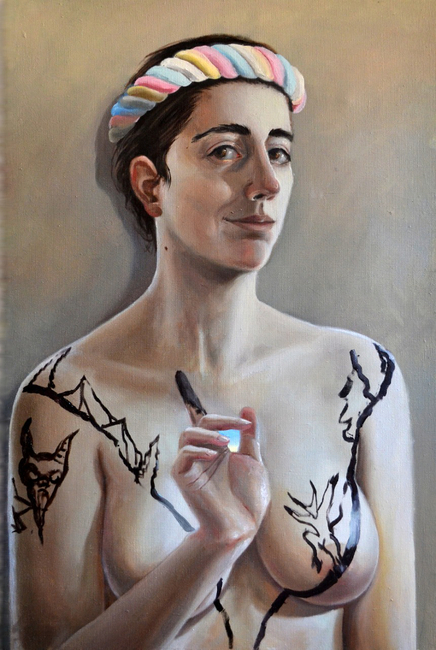 Klára Sedlo : Light of the Soul, oil on canvas, 90 × 60 cm, 2018, private collection