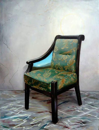 Klára Sedlo : Dance around the Chair, oil on canvas, 160 × 120 cm, 2018