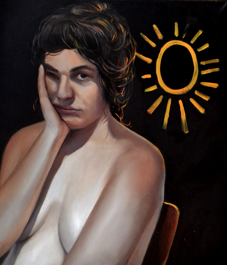 Klára Sedlo : Tired from the Sun, oil on canvas, 70 × 60 cm, 2018, private collection